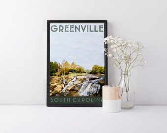 Print - Greenville, SC - Downtown - Digital Art