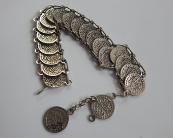 Vintage Souvenir Coin Bracelet 1188 on one side and  1313  Silver Tone  Souvenir Coin Bracelet