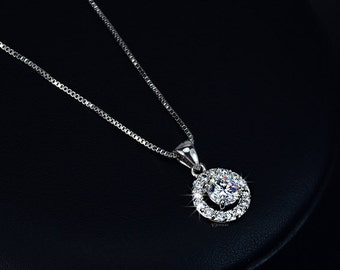 Delicate Wedding Necklace - Halo Necklace - Cubic Zirconia Necklace - Round Necklace - Bridesmaid Necklace - CZ - Bridal Necklace - AN0012