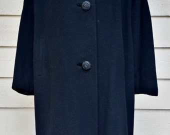 Vintage 1960's Black 100% Cashmere Coat with Mink Collar by Ruban