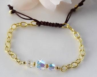 Swarovski Crystal and Gold Friendship Bracelet