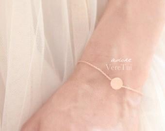 Minimal Flat Brushed Circle Disc Bracelet in Pink Rose Gold