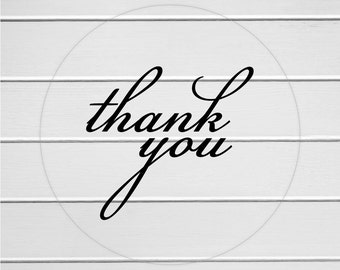 Thank You Labels, Clear Transparent Thank You Stickers, Thank you Labels (#114-C)