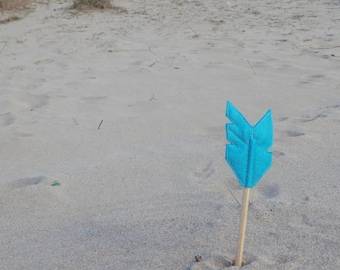 Blue Felt Arrow MERRYWEATHER Pencil Topper, Blue Arrow, Vegan