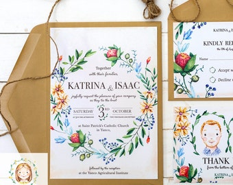 Custom Hand Drawn Watercolour Wedding Stationery Suite - Unique Invitation, RSVP, Thank you, Save the Date, Envelopes, Seating Chart