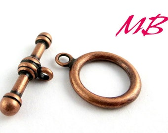 4 Sets Antique Copper Plated Toggle Clasps, 17mm