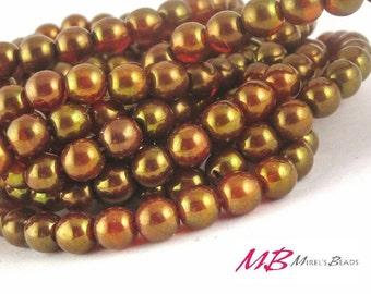 30 6mm Dark Orange Luster Druk Beads, 6mm Czech Round Druk Beads