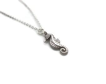 Seahorse pendant, silver seahorse necklace, silver charm necklace, seahorse jewellery, jewellery uk