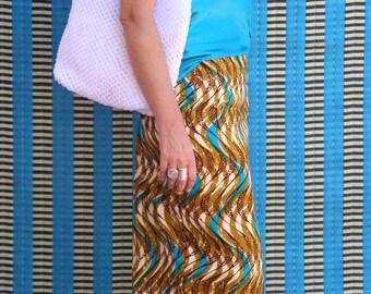 Wax African print skirt, woman skirt, straight skirt, pencil skirt, a summer skirt in cotton waxed with an African print, midi length skirt