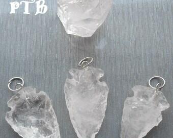 "Healing Amplification ~ Authentic Carved Crystal Quartz Arrowhead Pendant ""Hand Knapped"""