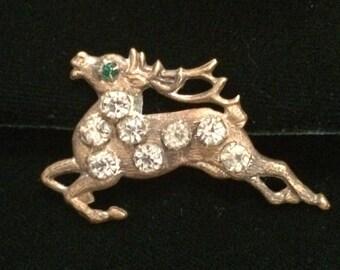 Vintage Christmas Reindeer Brooch with Rhinestones