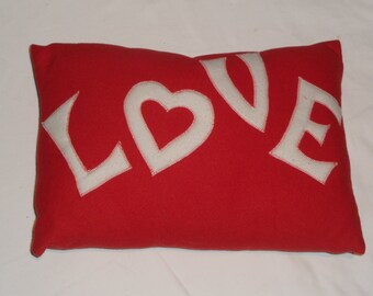 Valentine cushion - Red love pillow - heart - customisable and perfect for Valentines