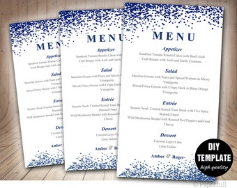 Wedding Menu Card Template,Blue Wedding Menu Template,Instant Download,Napkin Menu,Navy Blue Menu Template,Confetti Wedding