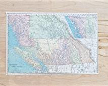 1899 - British Columbia - Authentic Antique Map - Large Map of British Columbia - Old Vintage Map - Colorful Map Crams Atlas - Gift - 89/001