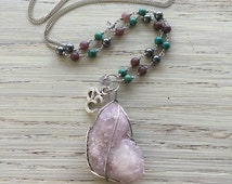 Long amethyst spirit quartz necklace with turquoise, aventurine, and hematite / crystal necklace / gypsy necklace / spirit quartz necklace
