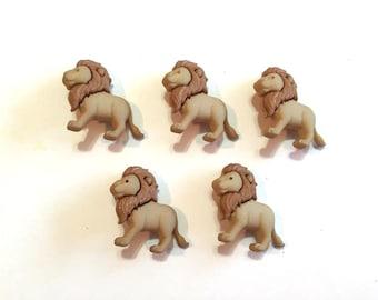 Lion Buttons Jesse James Buttons Zoo Cuties Noah's Animals Dress It Up Buttons Set of 5 Shank Back - 781 D