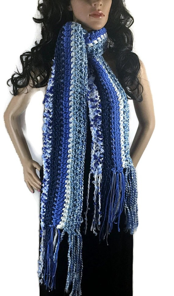 Ragamuffin Fringe Long Winter Scarf - Blue Navy White - Gift Under 50 - OOAK Chunky Outlander Knit Crocheted Neckwarmer FREE SHIPPING RG10