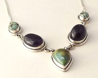 Sterling Silver Amethyst, Turquoise & Jasper Necklace | Multi Stone Necklace