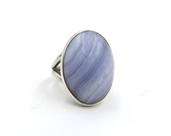 Blue Lace Agate Ring | Huge Sterling Silver Statement Ring | 925 Large Blue Ring | UK Size P 1/2 ~ US size 8