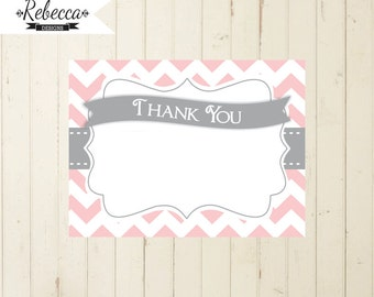 Thank you card pink and grey thank you card printable pink thank you card birthday thank you card baby shower grey chevron card insert 105