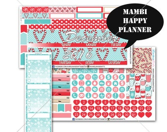 Peppermint MONTHLY Planner Kit  / Happy Planner Stickers / Mambi Stickers / Monthly Sticker Kit #SQ00726-MHP
