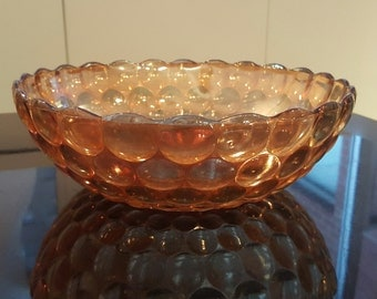 Marigold Fenton Carnival Glass Coin Dot Bowl with Scalloped Edge