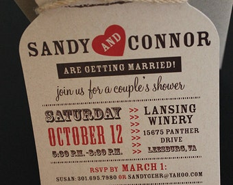 Wedding Mason Jar Invitation | Diecut Mason Jar Invitation | Rustic Invitation  | Bridal Shower Invitation