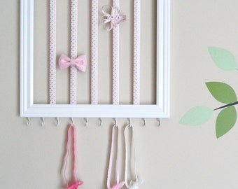 Square headband & hair clip holder - Light pink and gold