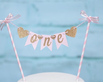 Pink and Gold Cake Topper with hearts for first birthday, Pink and Gold First Birthday Cake topper