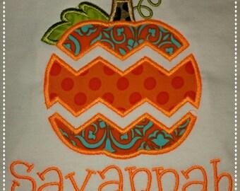 Personalized Fall Halloween Applique Chevron Pumpkin T-Shirt or Onesie