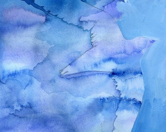 Artist Giclee Print of Water Color Painting by Jenn Rawling. 'Sky Cloud Swift'