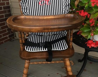 Wooden Highchair Cover/Cushion/Pad: Black/White Stripe for wooden/vintage highchairs. Removable foam . Optional monogramming.