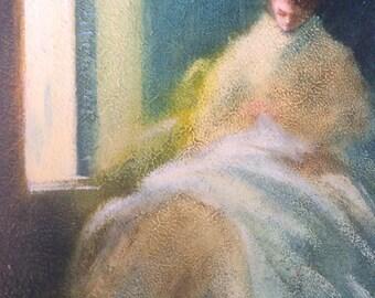 Vintage impressionistic style oil painting, original art, wall decor