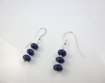 Sterling Silver Dangle Earrings, Lapis Earrings, Blue Bead Earrings