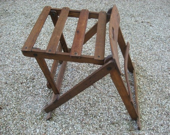 Folding wooden stool & back rest for fisherman, on a picnic, in canoe / boat or as table. Extremely unusual vintage antique find. Folds flat
