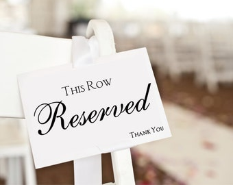 Reserved Sign, reserved card, wedding ceremony decor, reserved seating wedding signage