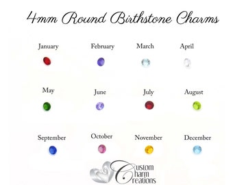 Birthstone Floating Locket Charm • 4 mm Round • January February March April May June July August September October November December