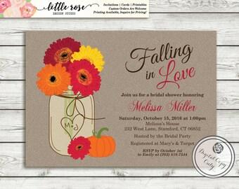 Fall Bridal Shower Invitation - Gerbera Daisy Bridal Brunch Invite - Fall Wedding Invitation  - Baby Shower - Printable - LR1008