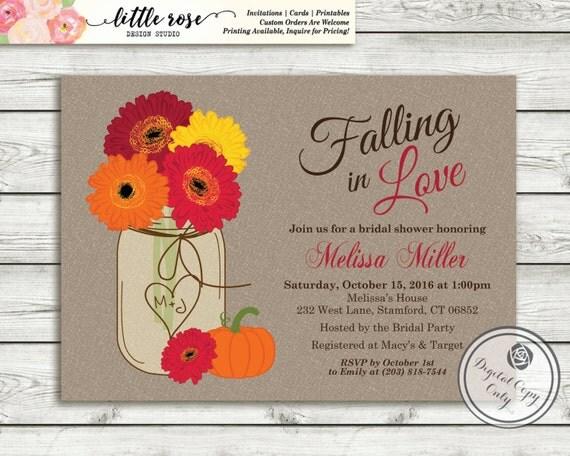 Fall Wedding Shower Invitations: Fall Bridal Shower Invitation Gerbera Daisy Bridal Brunch