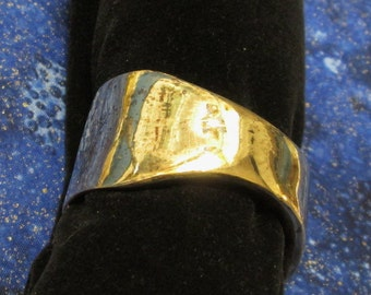 Price reduced! Vintage signed yellow gold plated heavy sterling cuff bracelet, 1970's.