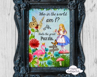 Alice in Wonderland Wall Art Decor Print Illustration Wall Hanging Alice in Wonderland Party Alice Mad Hatter Tea Party Quote