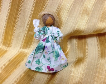 Liebchens Little Loved Ones, Pine Baroness Wood Doll, Harlysville, PA, Clothespin Doll, Floral Dressed Clothespin Doll, Doll, Vintage Doll,