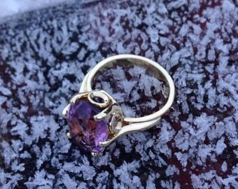 14 karat yellow gold ring with oval Amethyst, One of a kind.