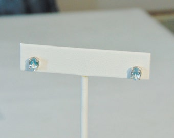 Blue Topaz Oval Sterling Silver Stud Earrings