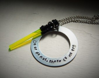 Do or do not there is no try, hand stamped necklace