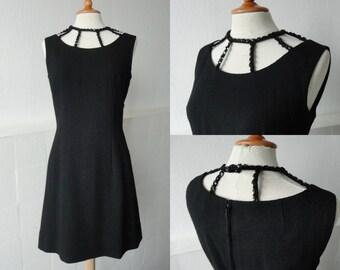 Black 60s Vintage Dress With Sequins Around Neckline