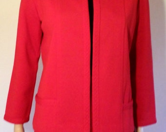 Vintage 1960's True Red Mod Wool Knit Suit/Pencil Skirt W/ Jacket/Holiday Suit By Jantzen Size 12 Approx Size Small