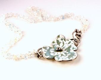 Enamelled silver aquamarine pendant on cord