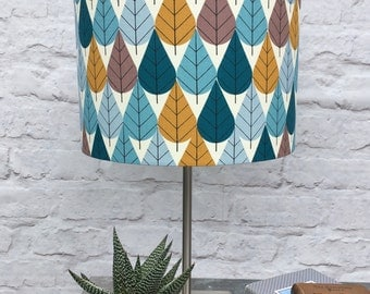 Charley Harper  Leaves - Fabric covered lampshade.