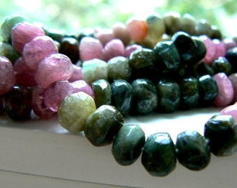Multi Tourmaline rondelle faceted beads 6mm beads. Strand 8in-Jewelry beads supply- Gemstone beads supply.